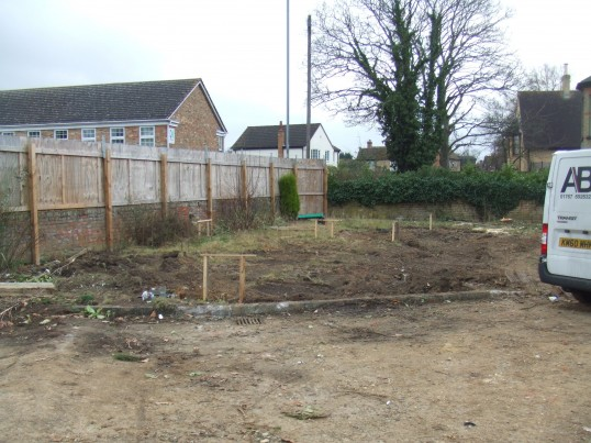 View across the cleared site at the former Wheatsheaf Public House in Eaton Socon in February 2012