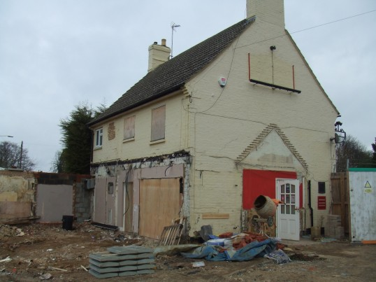 View of the former Wheatsheaf Public House in Eaton Socon after the demolition of the outbuildings in February 2012