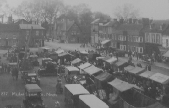 A market on St Neots Market Square around 1930