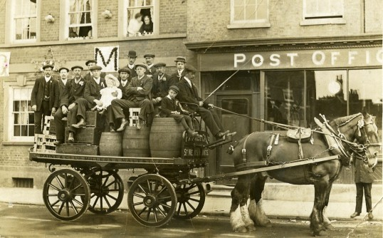 Paines Brewery waggon ready for the coronation celebrations of George V, 1911 in St Neots Market Square (photo from St Neots Museum)