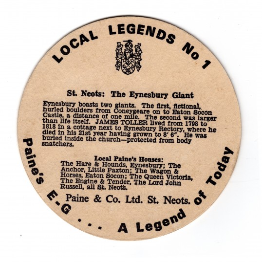 Paines Brewery of St Neots beer mat - back of beer mat with information about the Eynesbury Giant, dated about 1980
