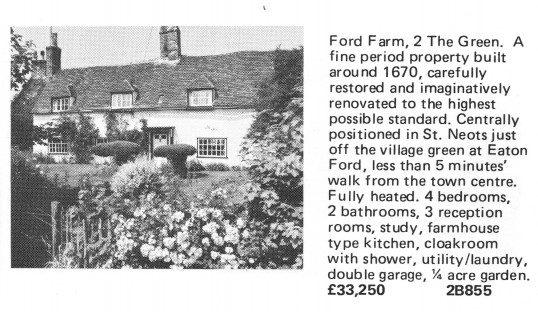 Estate Agents advert for the sale of Ford Farm in Eaton Ford in Flagboard, the estate agents book of properties for sale in May 1977