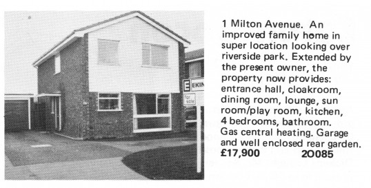 Estate Agents advert for the sale of 1 Milton Avenue in Eaton Ford in Flagboard, the estate agents book of properties for sale in May 1977