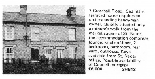 Estate Agents advert for the sale of 7 Crosshall Road in Eaton Ford in Flagboard, the estate agents book of properties for sale in May 1977