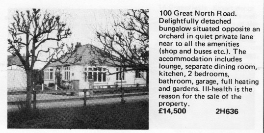 Estate Agents advert for the sale of 100 Great North Rd in Eaton Socon in Flagboard, the estate agents book of properties for sale in May 1977
