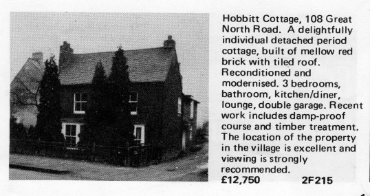 Estate Agents advert for the sale of Hobbit Cottage, 108 Great North Rd in Eaton Socon in Flagboard, the estate agents book of properties for sale in May 1977