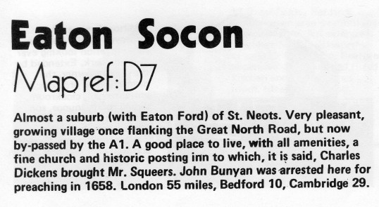 Description of Eaton Socon in Flagboard, the estate agents book of properties for sale in May 1977