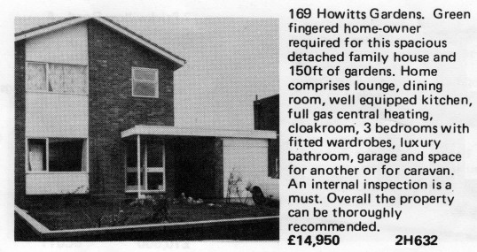 Estate Agents advert for the sale of 169 Howitts Gardens in Eynesbury in Flagboard, the estate agents book of properties for sale in May 1977