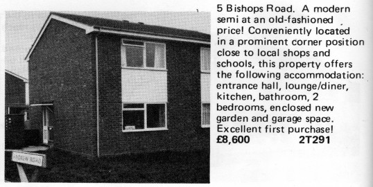Estate Agents advert for the sale of 5 Bishops Rd, Eynesbury in Flagboard, the estate agents book of properties for sale in May 1977