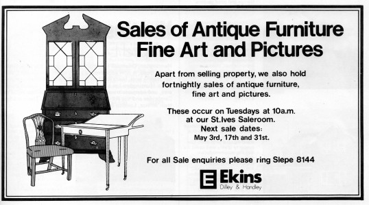 Estate Agents advert for antique sales in Flagboard, the estate agents book of properties for sale in May 1977