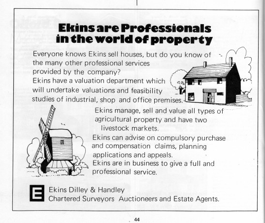 Advert for Ekins in Flagboard, in May 1977, the estate agents book of properties for sale