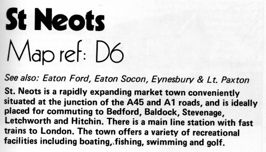 Description of St Neots in Flagboard, the estate agents book of properties for sale, May 1977