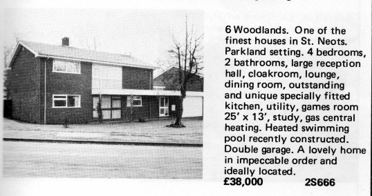 Estate Agents advert for the sale of 6 Woodlands in St Neots in Flagboard, the estate agents book of properties for sale in May 1977