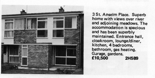 Estate Agents advert for the sale of 3 Anselm Place, St Neots in Flagboard, the estate agents book of properties for sale in May 1977