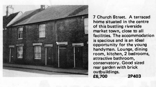 Estate Agents advert for the sale of 7 Church Street, St Neots in Flagboard, the estate agents book of properties for sale in May 1977