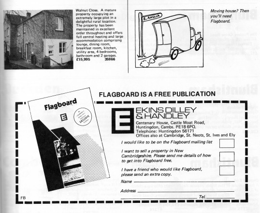 Advert for being on the mailing list of Flagboard, the estate agents book of properties for sale, May 1977