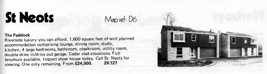 Estate Agents advert for the sale of new houses at The Paddock, Eaton Ford in Flagboard, the estate agents book of properties for sale in May 1977