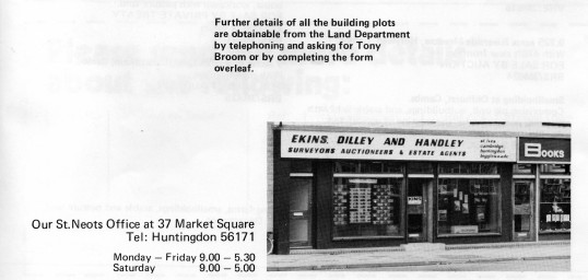 Ekins, Dilley and Handley Estate Agents Offices in 1977 at 37 Market Square, St Neots