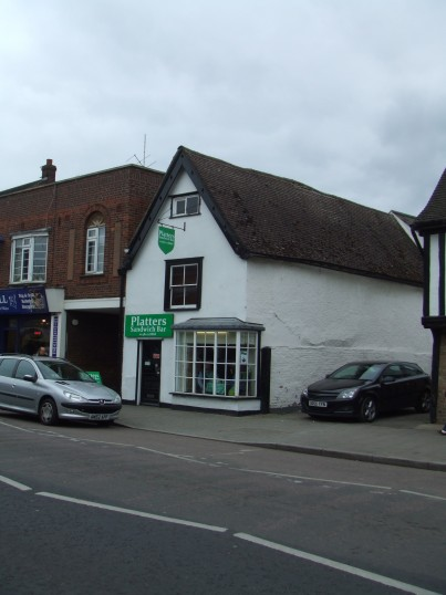 New sign at Platters Sandwich Bar in St Neots High Street in March 2012