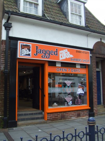 Jagged Edge Barbers shop in St Neots Market Square, opened May 2012, in the former betting shop