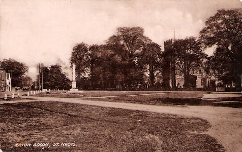 Eaton Socon Village Green in 1924 showing St Marys Church and the War Memorial