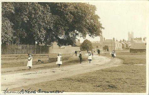 View of St Neots from the common, about 1900