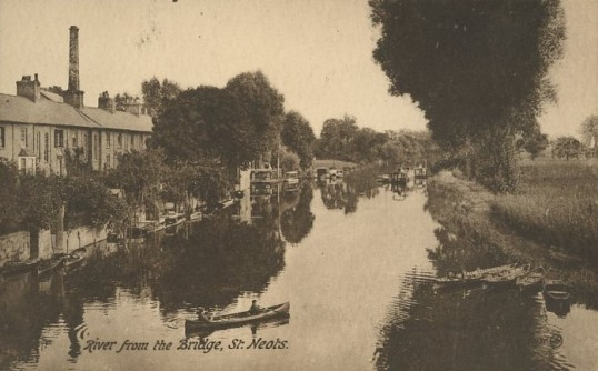 Houseboats and canoes on the River Great Ouse, by River Terrace around 1930