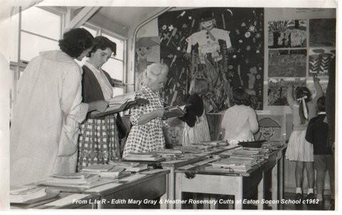 Edith Gray and Heather Rosemary Cutts in Eaton Socon School, c1962