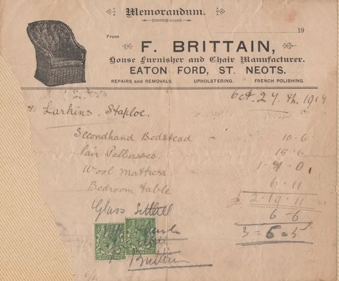 Bill for items bought by Mr Larkins of Staploe from Brittains in Eaton Ford in 1919