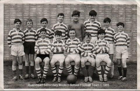 Bushmead School Football Team, in Eaton Socon, about 1955 (N. Cutts)