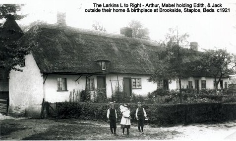 The Larkins children outside their family home in Staploe, about 1921 (N. Cutts)