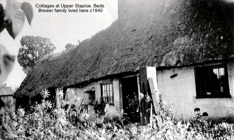 Thatched cottage at Staploe village, where the Brewer family lived around 1940 (N. Cutts)