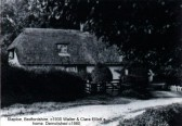 Elliott's cottage in Staploe, around 1930, with a mushroom shaped tree in the front garden, cottage demolished around 1960 (N.Cutts)