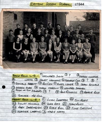 Class at Eaton Socon School around 1944 (N. Cutts)