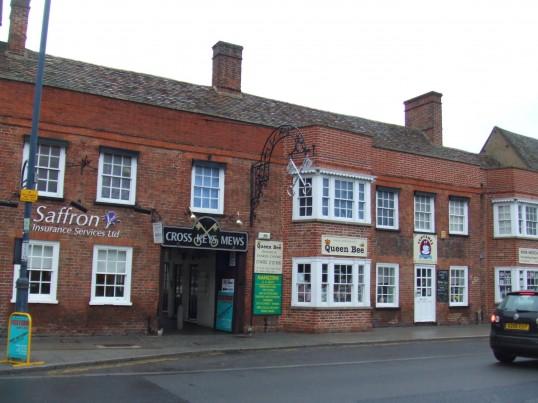 Cross Keys Mews in St Neots Market Square in March 2012, formerly the Cross Keys Coaching Inn