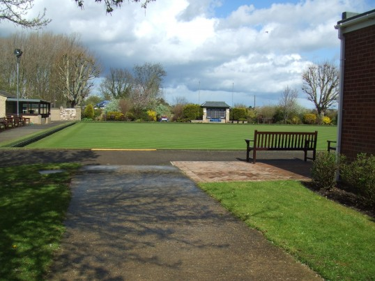 The bowling green at St Neots Outdoor Bowling Club in St Anselms Place, in May 2012