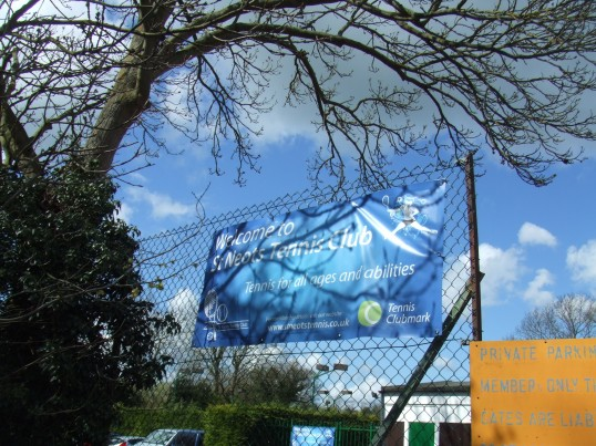 Banner at St Neots Tennis Club in St Anselms Place, in St Neots in April 2012