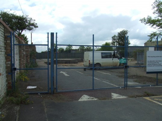 View through the former gates of the Household Tip area - site of new cinema, Huntingdon Street, in May 2012