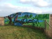 Mural painted on bridge near Barford Pocket Park, in Eynesbury in May 2012