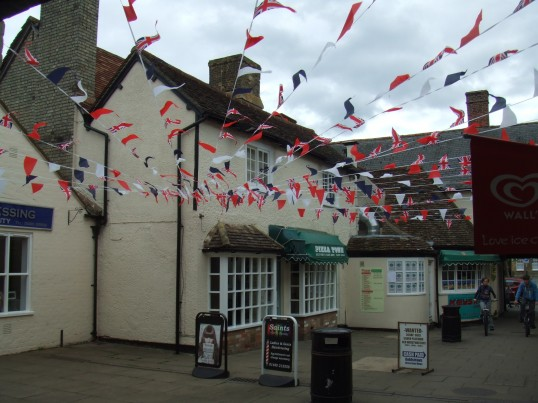 Cross Keys Mews in St Neots, decorated for the Queens Diamond Jubilee in June 2012