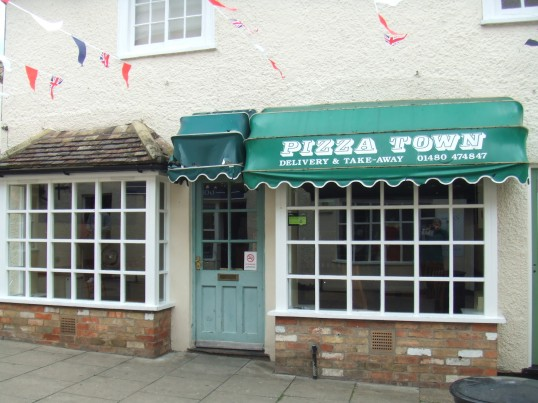 Pizza Town shop in Cross Keys Mews, off St Neots Market Square in June 2012