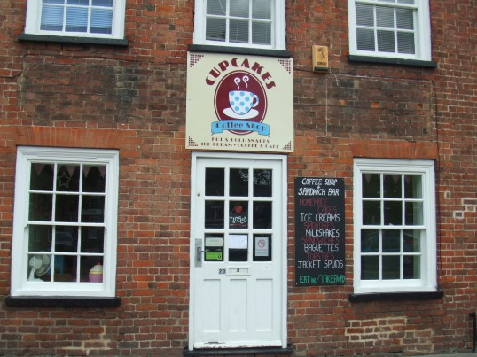 Cupcakes coffee shop, formerly 'De-Lish' in the former Cross Keys coaching inn, St Neots Market Square, in June 2012