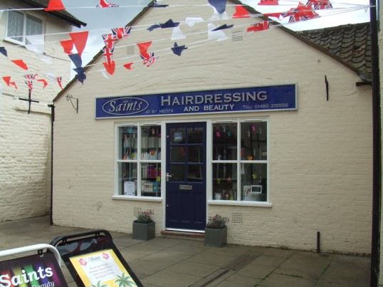 Saints Hairdressing and Beauty Salon in Cross Keys Mews, off St Neots Market Square in June 2012