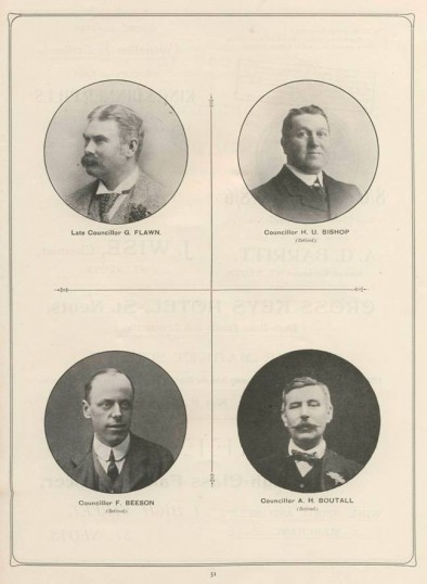1911 Coronation Souvenir Programme - portraits of Councillors Flawn, Bishop, Beeson and Boutall