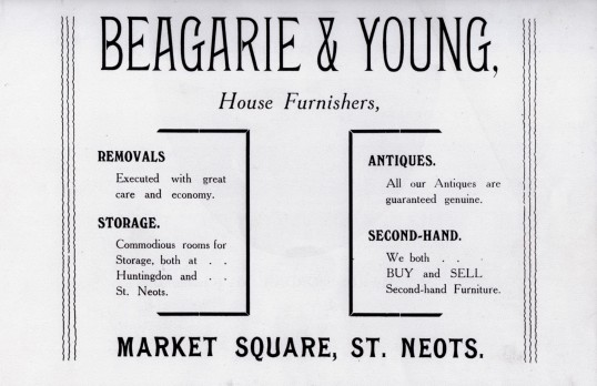 Beagarie and Young House Furnishers in St Neots, in the 1911 Coronation Souvenir Programme