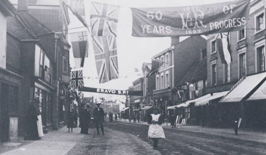 St. Neots High Street decorated for Queen Victoria's Diamond Jubilee in 1897