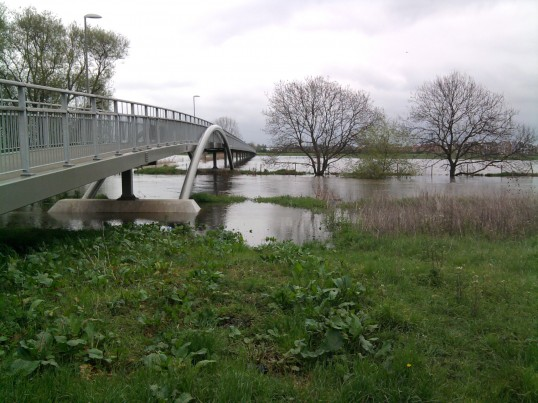 View of the flooding looking towards Eynesbury from the Eaton Socon side of the river bank at Willow Bridge in May 2012