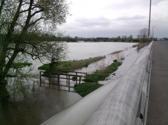 View of the flooding looking across the fields to Eynesbury from Willow Bridge in May 2012