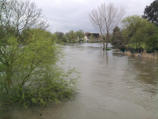 View of the flooding looking south towards Eaton Socon River Mill from Willow Bridge in May 2012