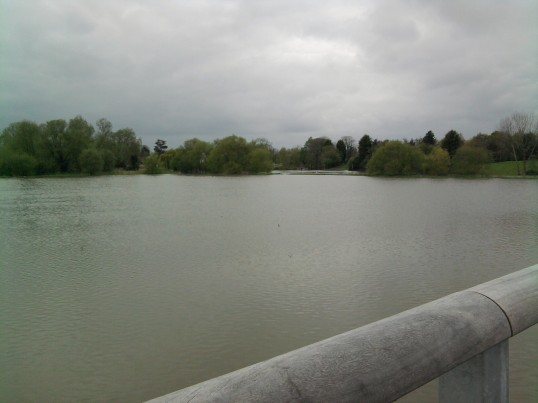 View from Willow Bridge looking across the flooded fields from Eynesbury towards Eaton Socon Castle, in May 2012